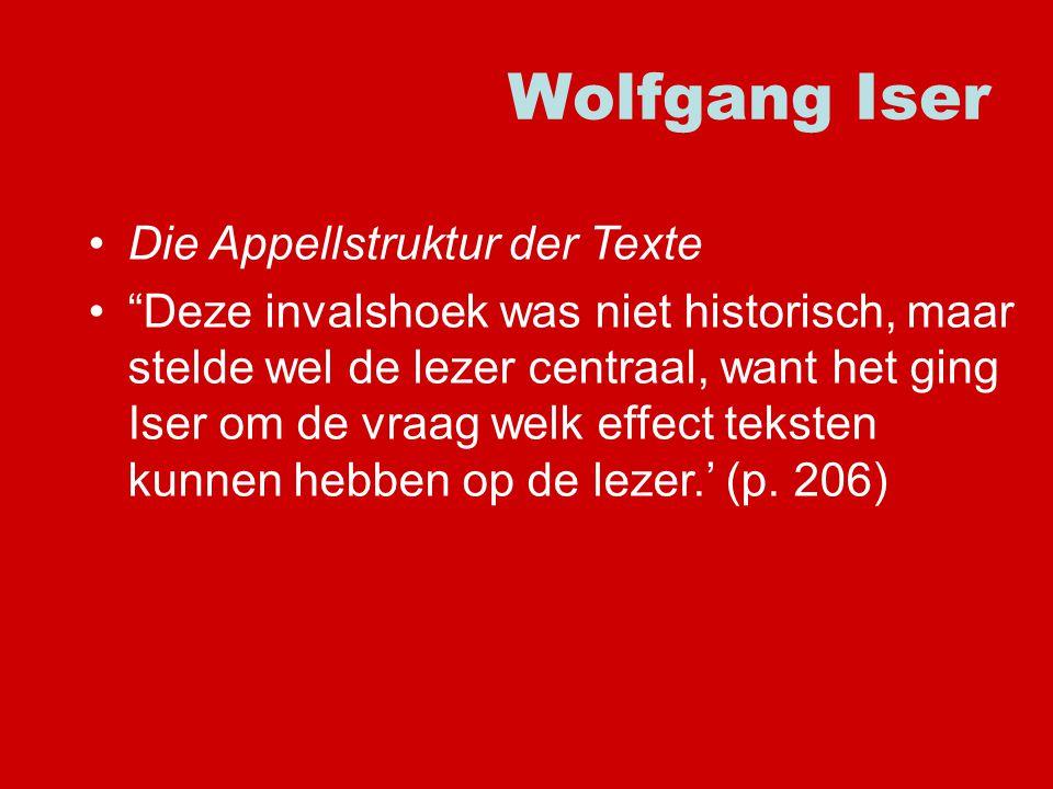 Wolfgang Iser Die Appellstruktur der Texte Deze invalshoek was niet historisch, maar stelde wel de lezer centraal, want het ging Iser om de vraag welk effect teksten kunnen hebben op de lezer.' (p.