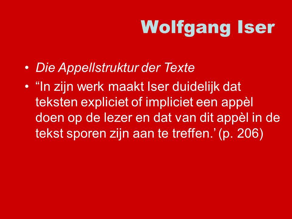 Wolfgang Iser Die Appellstruktur der Texte In zijn werk maakt Iser duidelijk dat teksten expliciet of impliciet een appèl doen op de lezer en dat van dit appèl in de tekst sporen zijn aan te treffen.' (p.