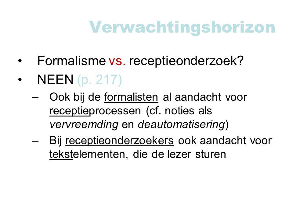 Verwachtingshorizon Formalisme vs.receptieonderzoek.