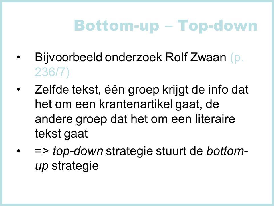 Bottom-up – Top-down Bijvoorbeeld onderzoek Rolf Zwaan (p.