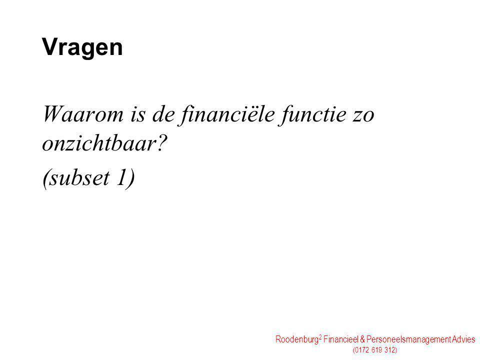 Roodenburg 2 Financieel & Personeelsmanagement Advies (0172 619 312) Vragen Waarom is de financiële functie zo onzichtbaar? (subset 1)