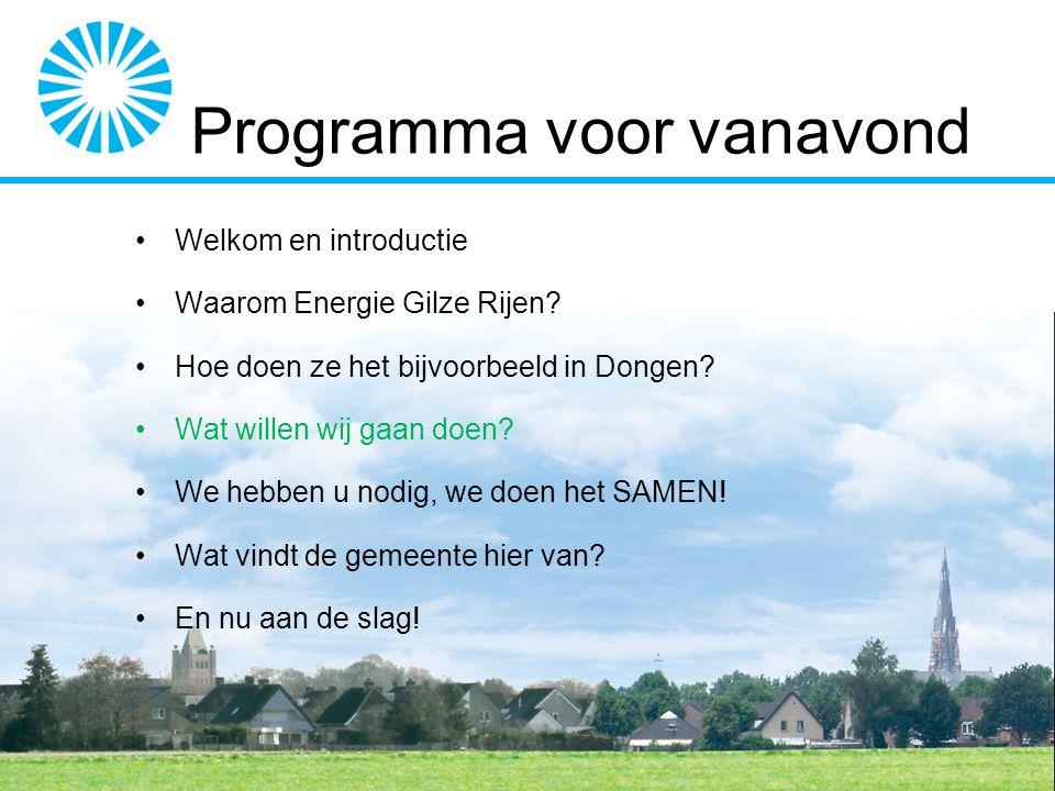 Wat is onze visie Streven naar een klimaatneutrale samenleving in Gilze en Rijen In 2020 zijn de woningen en gebouwen van de leden 50% energiezuiniger dan in 2013 Maar ook Het betaalbaar houden van de energienota Lokale werkgelegenheid stimuleren Ontzorgen door de projectuitvoering te verzorgen