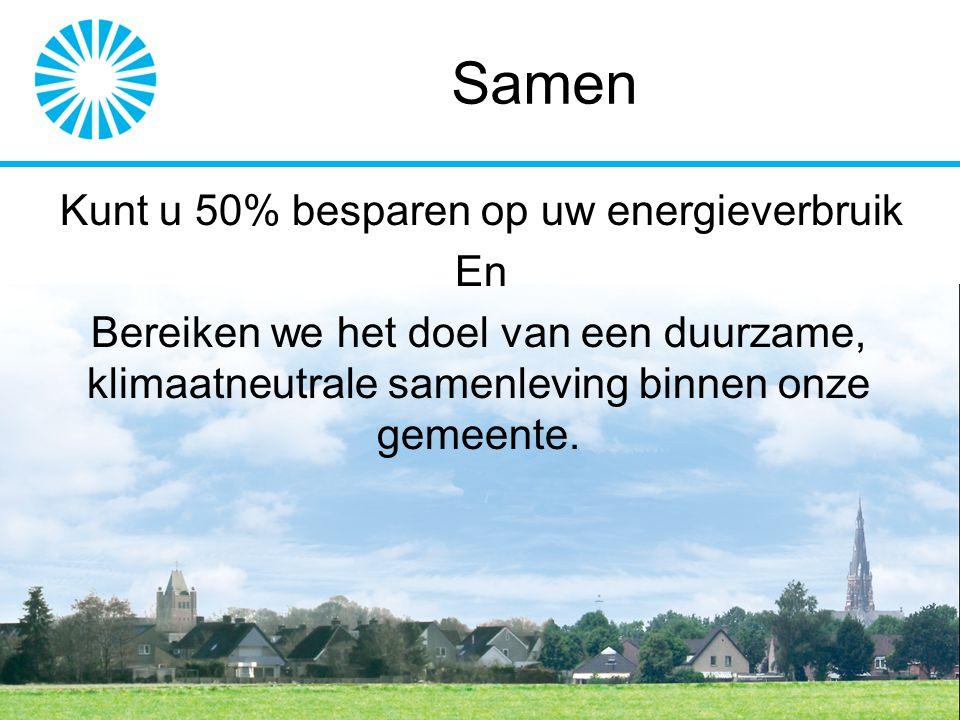 Samen Kunt u 50% besparen op uw energieverbruik En Bereiken we het doel van een duurzame, klimaatneutrale samenleving binnen onze gemeente.