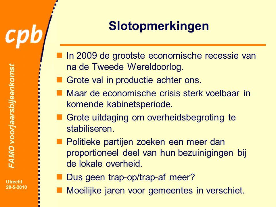 FAMO voorjaarsbijeenkomst Utrecht 28-5-2010 Slotopmerkingen In 2009 de grootste economische recessie van na de Tweede Wereldoorlog.