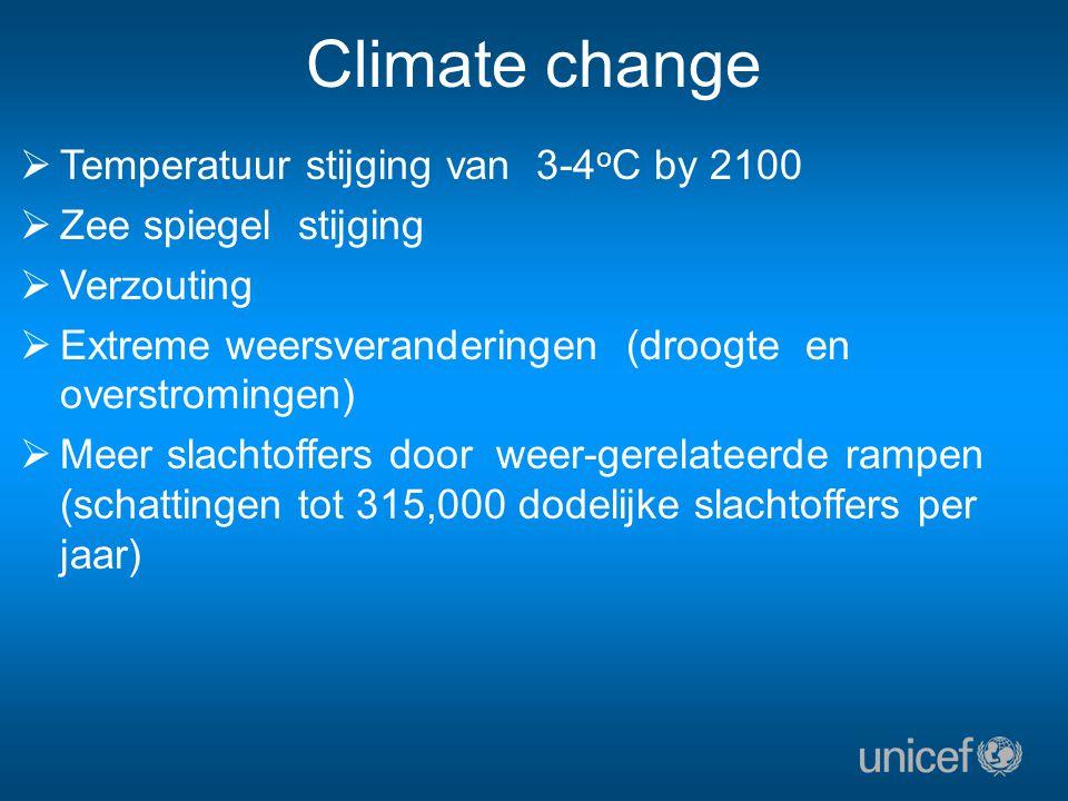 Climate change  Temperatuur stijging van 3-4 o C by 2100  Zee spiegel stijging  Verzouting  Extreme weersveranderingen (droogte en overstromingen)  Meer slachtoffers door weer-gerelateerde rampen (schattingen tot 315,000 dodelijke slachtoffers per jaar)