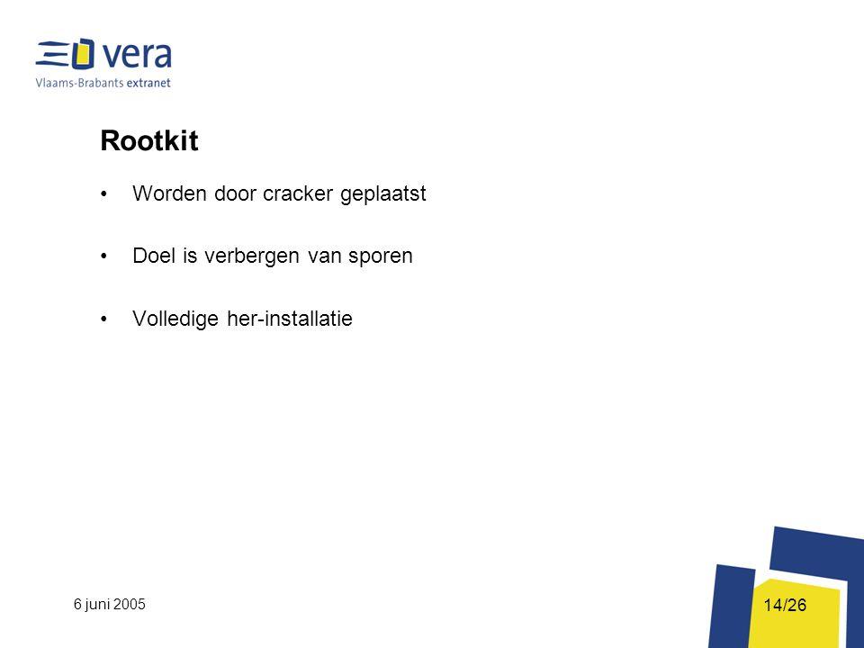6 juni 2005 14/26 Rootkit Worden door cracker geplaatst Doel is verbergen van sporen Volledige her-installatie