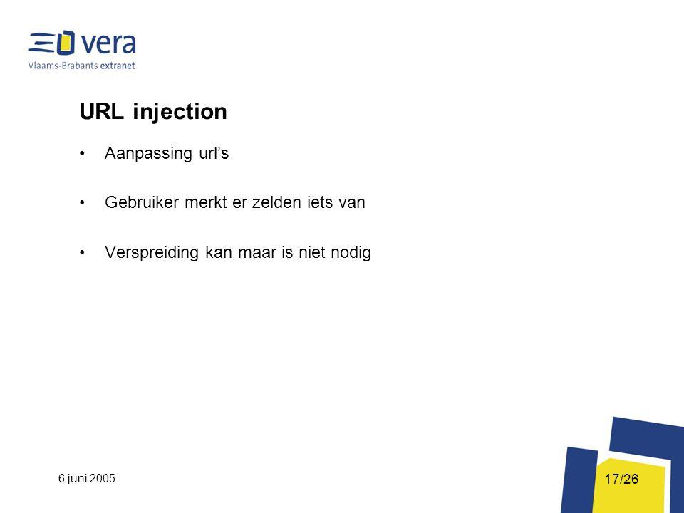 6 juni 2005 17/26 URL injection Aanpassing url's Gebruiker merkt er zelden iets van Verspreiding kan maar is niet nodig