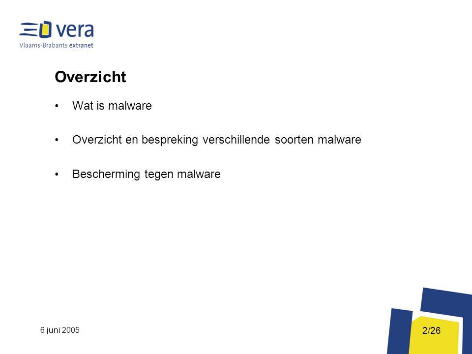6 juni 2005 2/26 Overzicht Wat is malware Overzicht en bespreking verschillende soorten malware Bescherming tegen malware