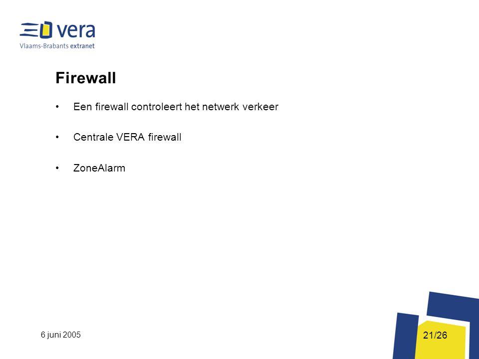 6 juni 2005 21/26 Firewall Een firewall controleert het netwerk verkeer Centrale VERA firewall ZoneAlarm