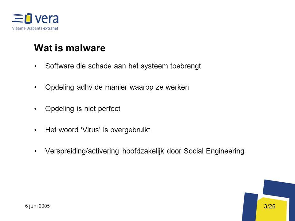 6 juni 2005 3/26 Wat is malware Software die schade aan het systeem toebrengt Opdeling adhv de manier waarop ze werken Opdeling is niet perfect Het woord 'Virus' is overgebruikt Verspreiding/activering hoofdzakelijk door Social Engineering