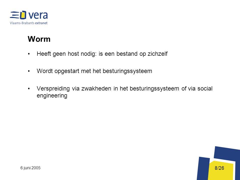 6 juni 2005 8/26 Worm Heeft geen host nodig: is een bestand op zichzelf Wordt opgestart met het besturingssysteem Verspreiding via zwakheden in het besturingssysteem of via social engineering