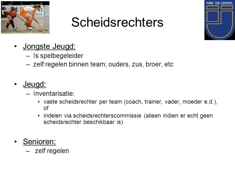 Scheidsrechters Jongste Jeugd: –Is spelbegeleider –zelf regelen binnen team; ouders, zus, broer, etc Jeugd: –Inventarisatie: vaste scheidsrechter per