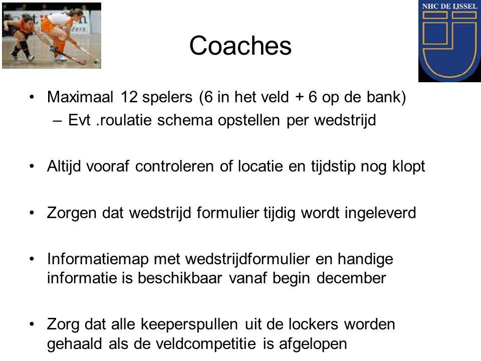 Coaches Maximaal 12 spelers (6 in het veld + 6 op de bank) –Evt.roulatie schema opstellen per wedstrijd Altijd vooraf controleren of locatie en tijdst