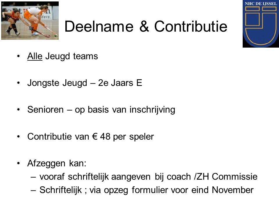 Deelname & Contributie Alle Jeugd teams Jongste Jeugd – 2e Jaars E Senioren – op basis van inschrijving Contributie van € 48 per speler Afzeggen kan:
