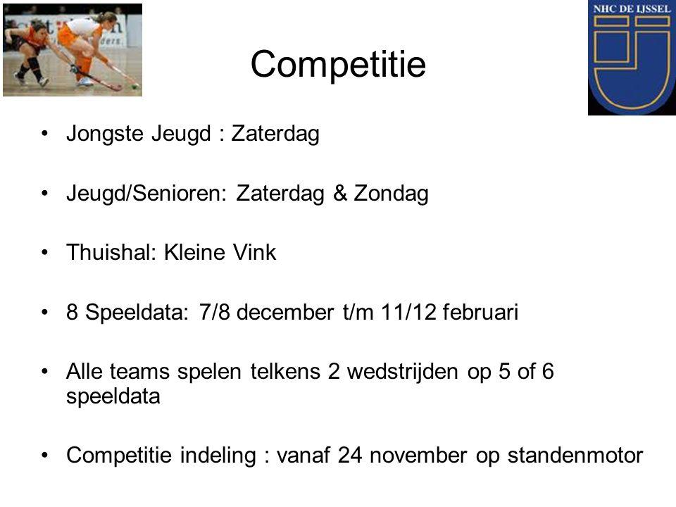 Competitie Jongste Jeugd : Zaterdag Jeugd/Senioren: Zaterdag & Zondag Thuishal: Kleine Vink 8 Speeldata: 7/8 december t/m 11/12 februari Alle teams sp