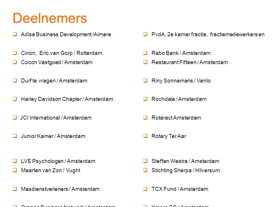 Deelnemers  Adisa Business Development /Almere  PvdA, 2e kamer fractie, fractiemedewerkers en  Cirion, Eric van Gorp / Rotterdam  Rabo Bank / Amsterdam.