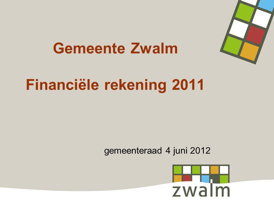 Gemeente Zwalm Financiële rekening 2011 gemeenteraad 4 juni 2012