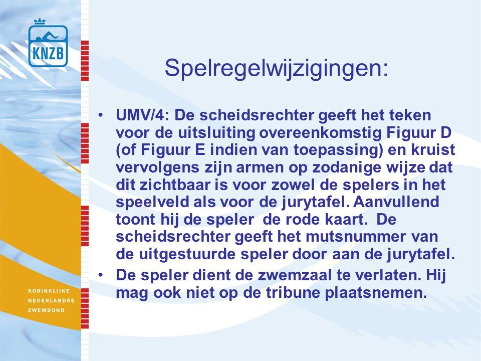 Spelregelwijzigingen: UMV/4: De scheidsrechter geeft het teken voor de uitsluiting overeenkomstig Figuur D (of Figuur E indien van toepassing) en krui