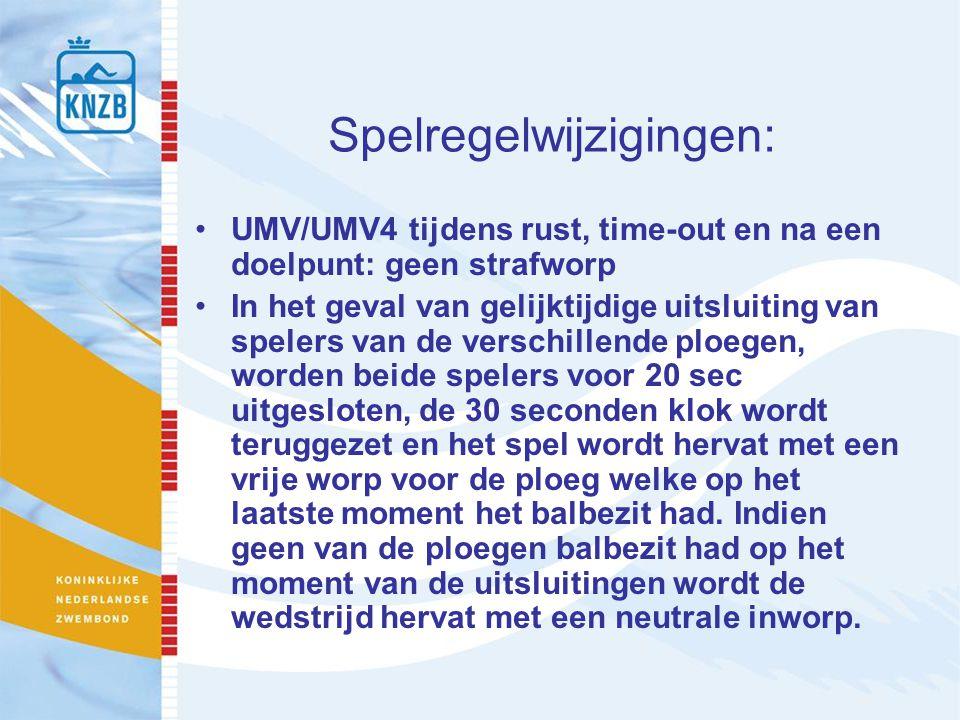 Spelregelwijzigingen: UMV/UMV4 tijdens rust, time-out en na een doelpunt: geen strafworp In het geval van gelijktijdige uitsluiting van spelers van de