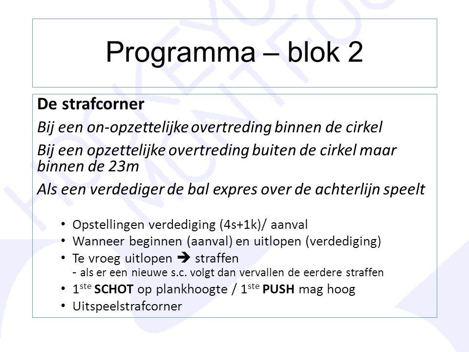 Programma – blok 2 De strafcorner Bij een on-opzettelijke overtreding binnen de cirkel Bij een opzettelijke overtreding buiten de cirkel maar binnen d