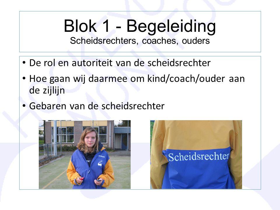 Blok 1 - Begeleiding Scheidsrechters, coaches, ouders De rol en autoriteit van de scheidsrechter Hoe gaan wij daarmee om kind/coach/ouder aan de zijli