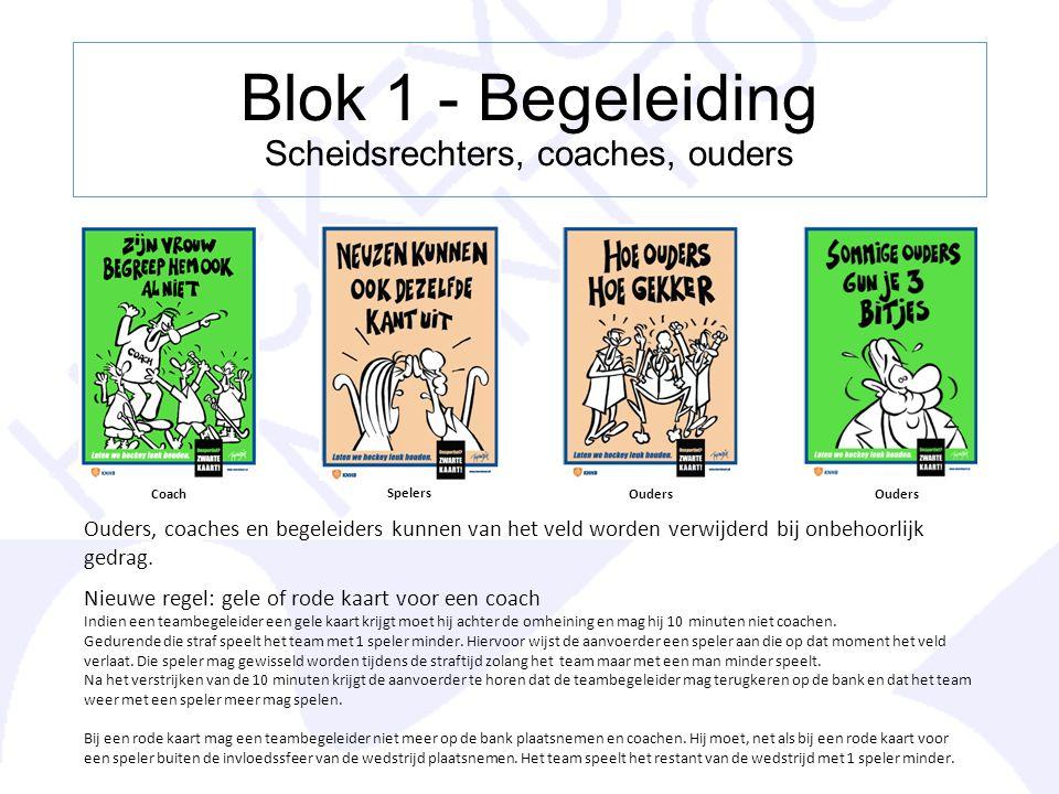 Blok 1 - Begeleiding Scheidsrechters, coaches, ouders Coach Spelers Ouders Ouders, coaches en begeleiders kunnen van het veld worden verwijderd bij on