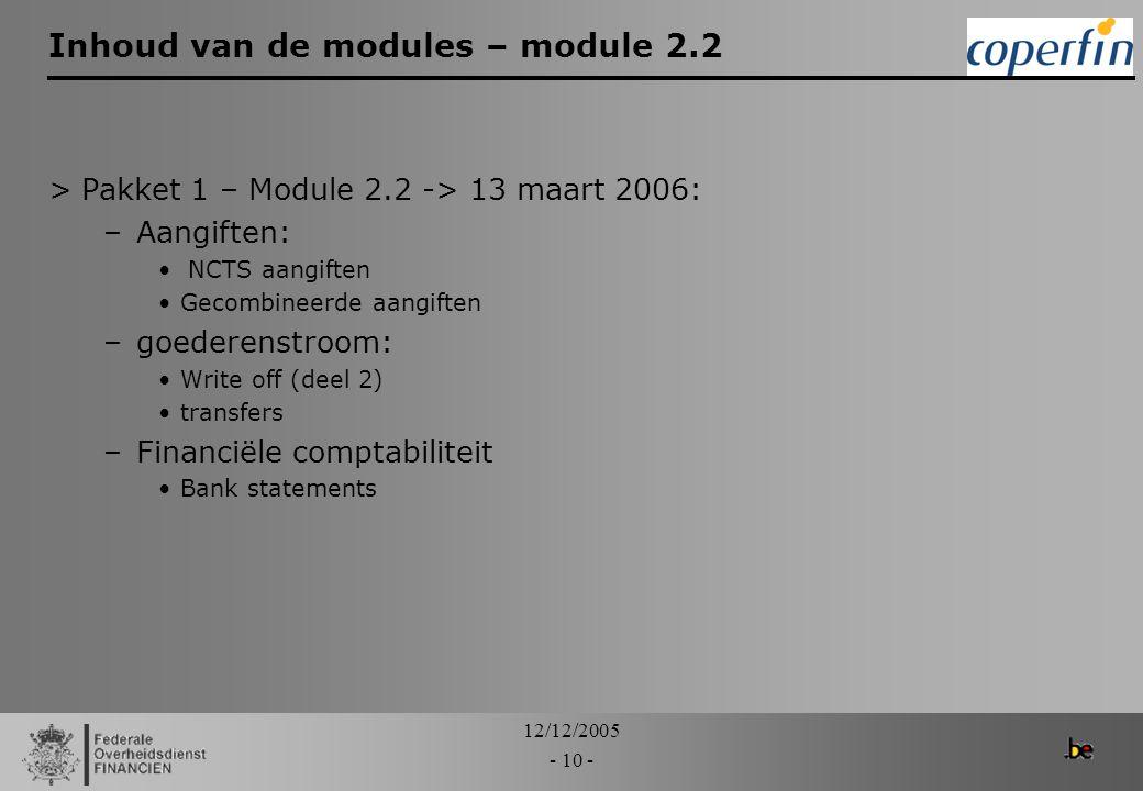 12/12/2005 - 10 - Inhoud van de modules – module 2.2 >Pakket 1 – Module 2.2 -> 13 maart 2006: –Aangiften: NCTS aangiften Gecombineerde aangiften –goed