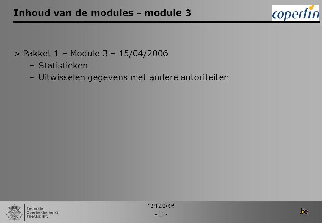 12/12/2005 - 11 - Inhoud van de modules - module 3 >Pakket 1 – Module 3 – 15/04/2006 –Statistieken –Uitwisselen gegevens met andere autoriteiten