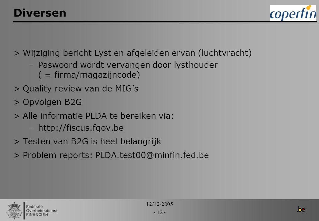 12/12/2005 - 12 - Diversen >Wijziging bericht Lyst en afgeleiden ervan (luchtvracht) –Paswoord wordt vervangen door lysthouder ( = firma/magazijncode)