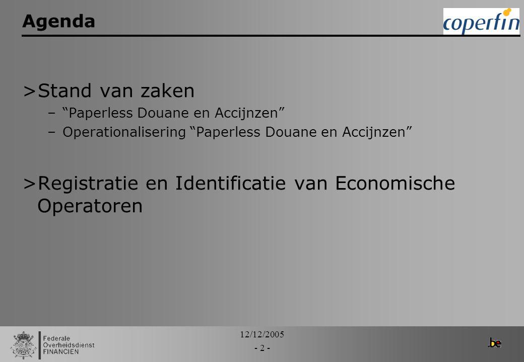 """12/12/2005 - 2 - Agenda >Stand van zaken –""""Paperless Douane en Accijnzen"""" –Operationalisering """"Paperless Douane en Accijnzen"""" >Registratie en Identifi"""