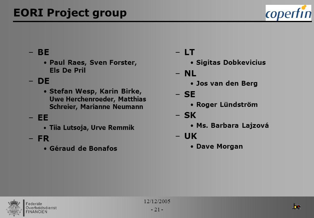 12/12/2005 - 21 - EORI Project group –BE Paul Raes, Sven Forster, Els De Pril –DE Stefan Wesp, Karin Birke, Uwe Herchenroeder, Matthias Schreier, Mari