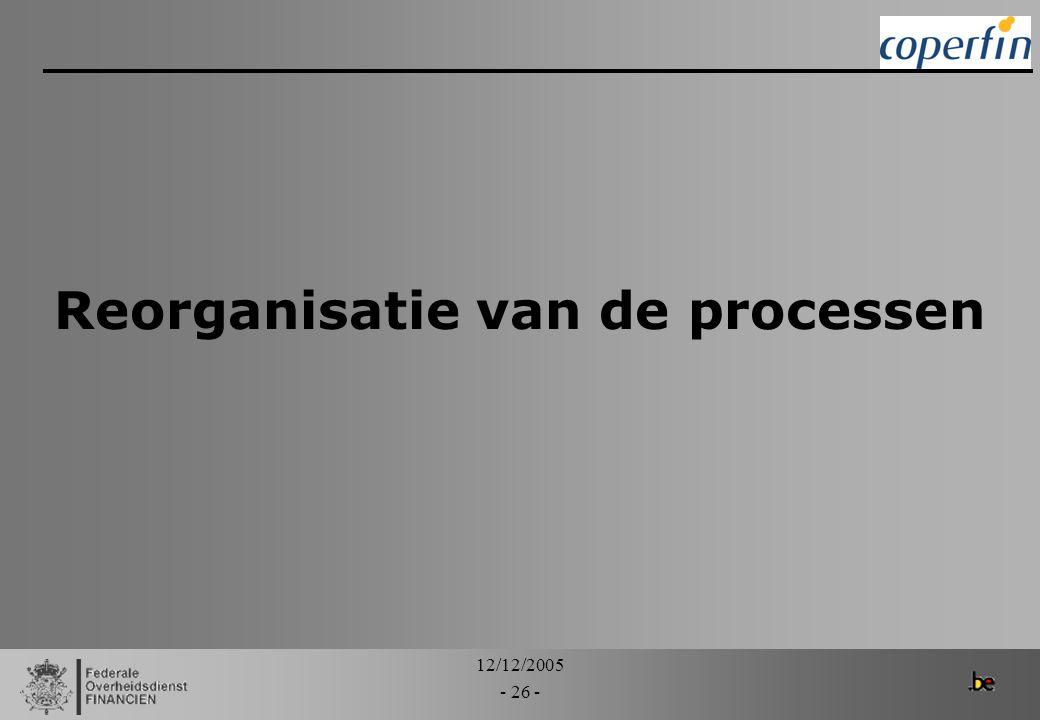 12/12/2005 - 26 - Reorganisatie van de processen