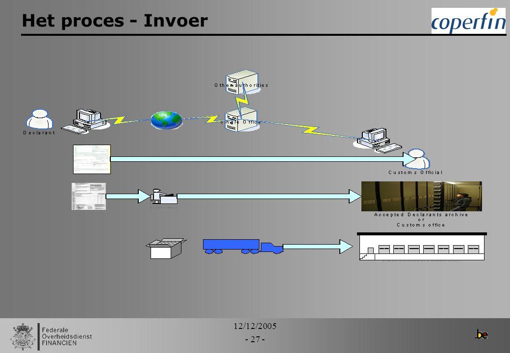 12/12/2005 - 27 - Het proces - Invoer