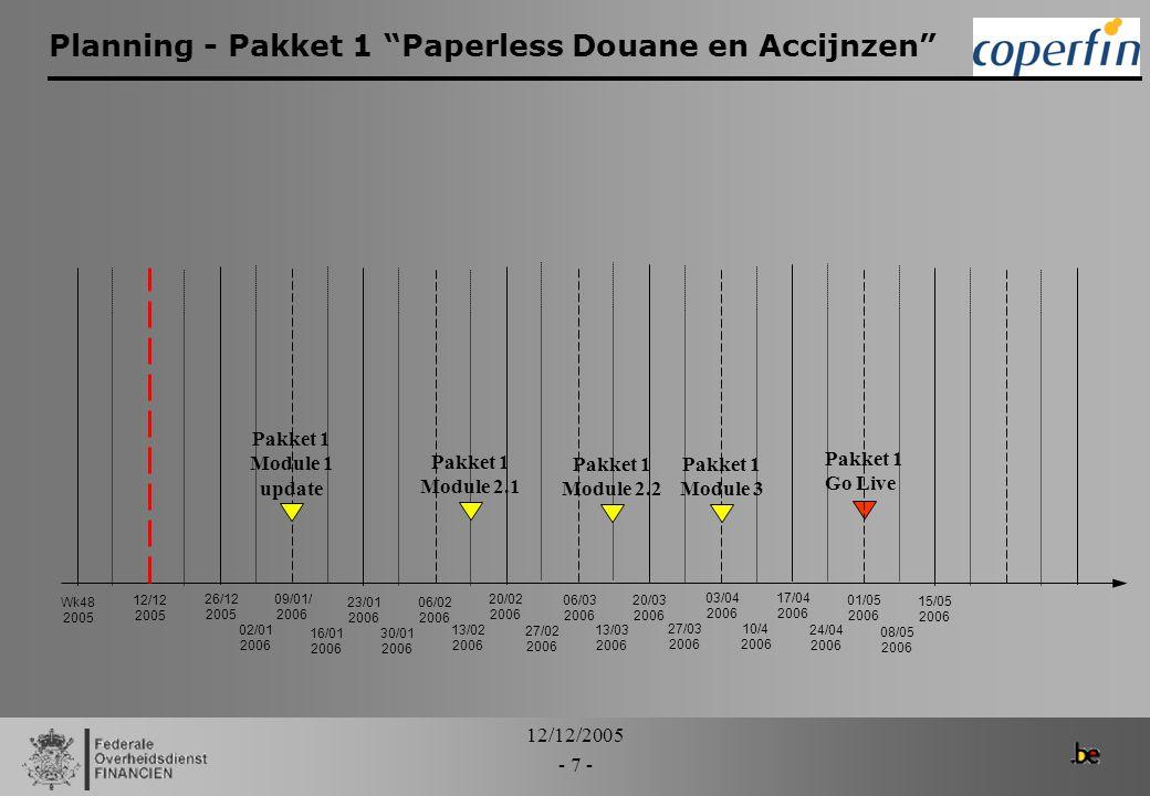 12/12/2005 - 8 - Inhoud van de modules - module 1 update > Pakket 1 – Module 1 (update) -> 9 januari 2006: –SAD normale en vereenvoudigde procedure: insturen, wijzigen, annuleren berekeningen – Goederenstroom Customs events –Financiële comptabiliteit Klantenrekening (aanschrijven + borgen certificaten) Betalingen teruggaven