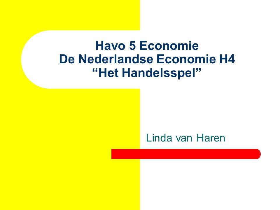"""Havo 5 Economie De Nederlandse Economie H4 """"Het Handelsspel"""" Linda van Haren"""