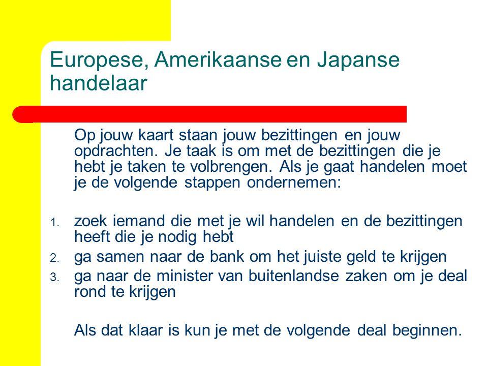 Europese, Amerikaanse en Japanse handelaar Op jouw kaart staan jouw bezittingen en jouw opdrachten. Je taak is om met de bezittingen die je hebt je ta