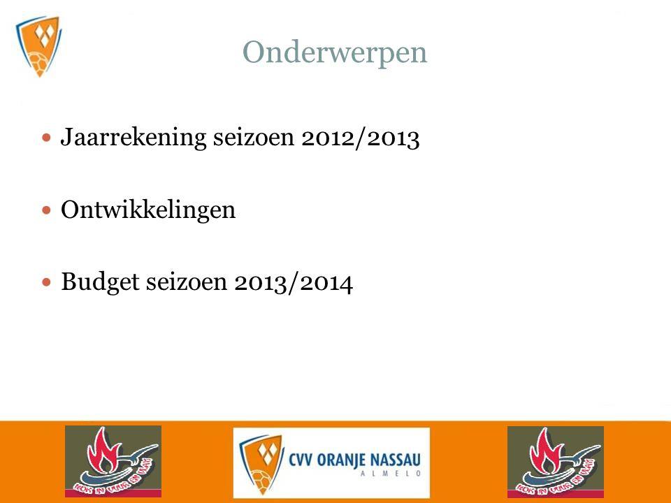Onderwerpen Jaarrekening seizoen 2012/2013 Ontwikkelingen Budget seizoen 2013/2014
