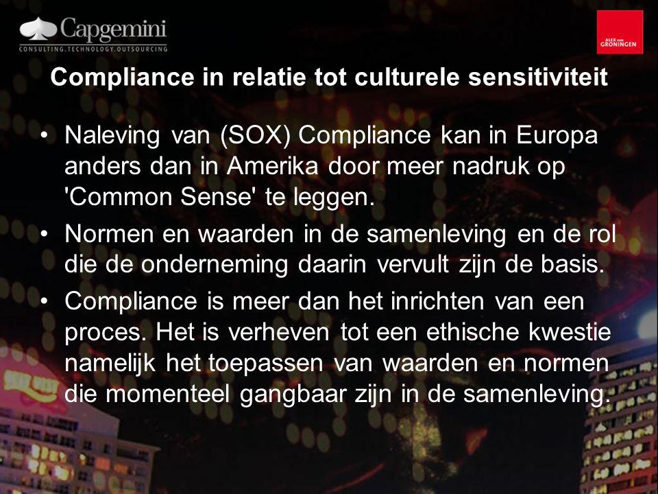 Compliance in relatie tot culturele sensitiviteit Naleving van (SOX) Compliance kan in Europa anders dan in Amerika door meer nadruk op Common Sense te leggen.