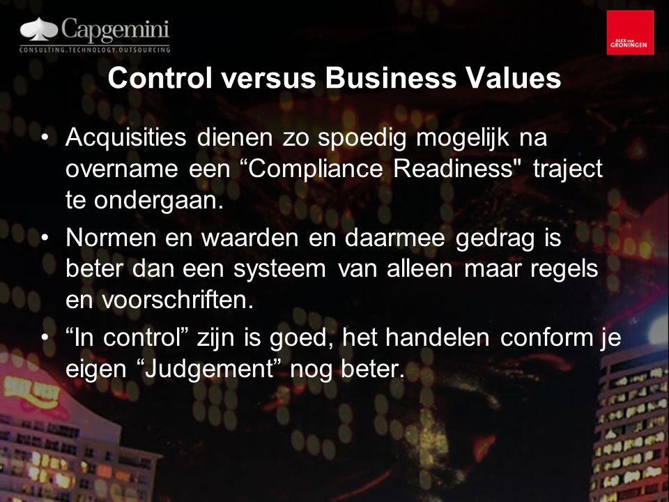 Control versus Business Values Acquisities dienen zo spoedig mogelijk na overname een Compliance Readiness traject te ondergaan.