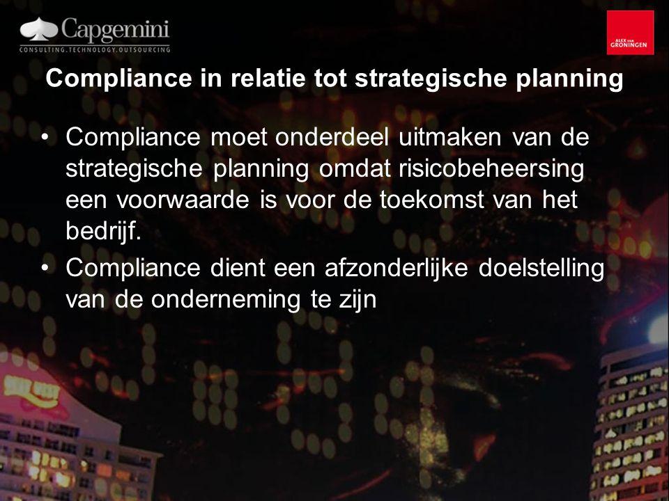 Compliance in relatie tot strategische planning Compliance moet onderdeel uitmaken van de strategische planning omdat risicobeheersing een voorwaarde is voor de toekomst van het bedrijf.