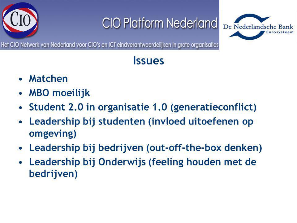 Interest Groep Issues Matchen MBO moeilijk Student 2.0 in organisatie 1.0 (generatieconflict) Leadership bij studenten (invloed uitoefenen op omgeving) Leadership bij bedrijven (out-off-the-box denken) Leadership bij Onderwijs (feeling houden met de bedrijven)