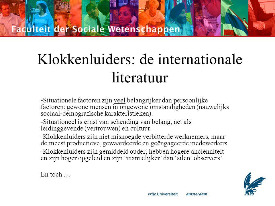 Klokkenluiders: de internationale literatuur -Situationele factoren zijn veel belangrijker dan persoonlijke factoren: gewone mensen in ongewone omstan