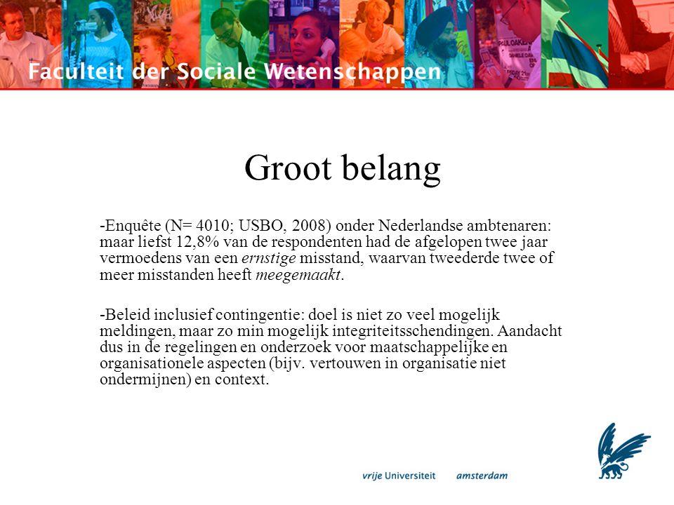 Groot belang -Enquête (N= 4010; USBO, 2008) onder Nederlandse ambtenaren: maar liefst 12,8% van de respondenten had de afgelopen twee jaar vermoedens