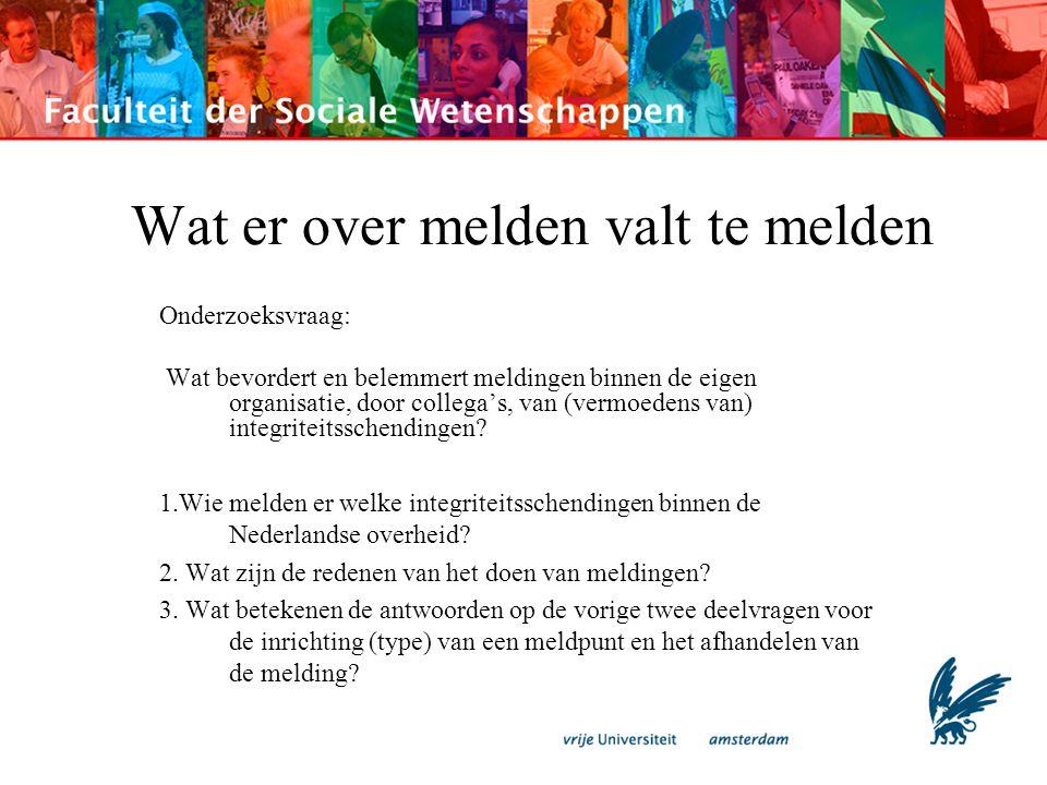Onderzoeksopzet -Drie organisaties: het Bureau Integriteit (BI) van de gemeente Amsterdam, het Bureau Integriteit (BIO) van de politie Amsterdam-Amstelland (dat sinds kort Bureau Integriteit heet), en het Bureau Integriteit & Veiligheid van de Dienst Justitiële Inrichtingen van het ministerie van Justitie -Archiefstudie -25 interviews: goede informatiebron: emotioneel zeer beladen beslissingen, die nog jarenlang gevolgen kunnen hebben.
