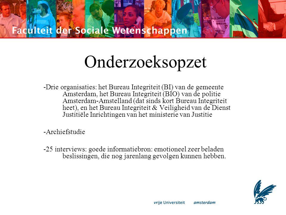 Onderzoeksopzet -Drie organisaties: het Bureau Integriteit (BI) van de gemeente Amsterdam, het Bureau Integriteit (BIO) van de politie Amsterdam-Amste