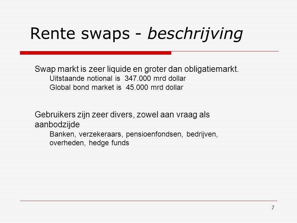 7 Rente swaps - beschrijving Swap markt is zeer liquide en groter dan obligatiemarkt. Uitstaande notional is 347.000 mrd dollar Global bond market is
