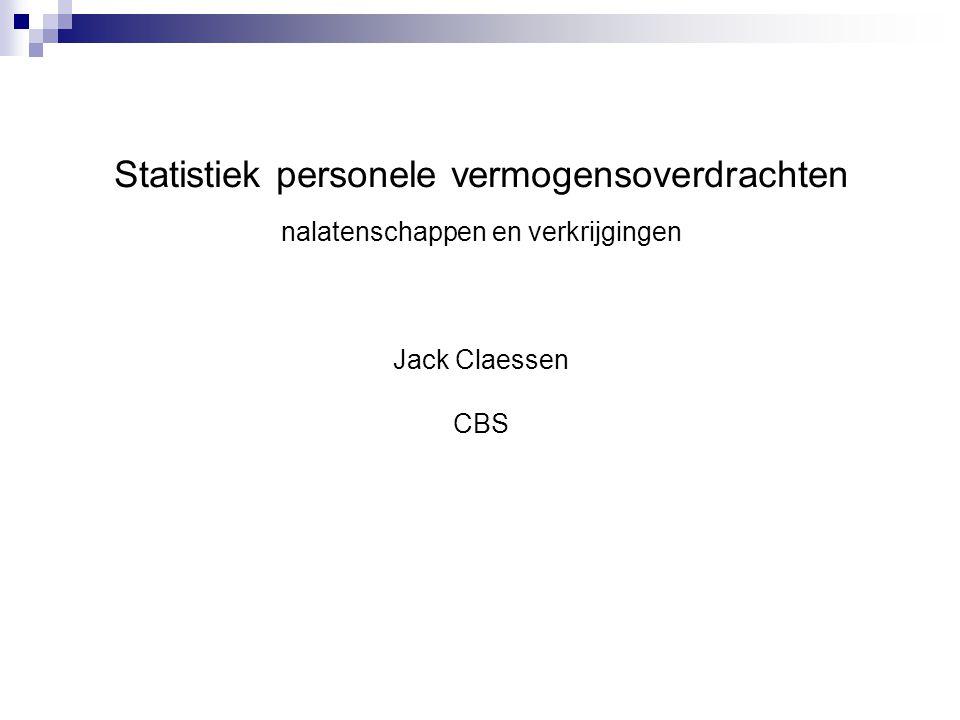 Statistiek personele vermogensoverdrachten nalatenschappen en verkrijgingen Jack Claessen CBS