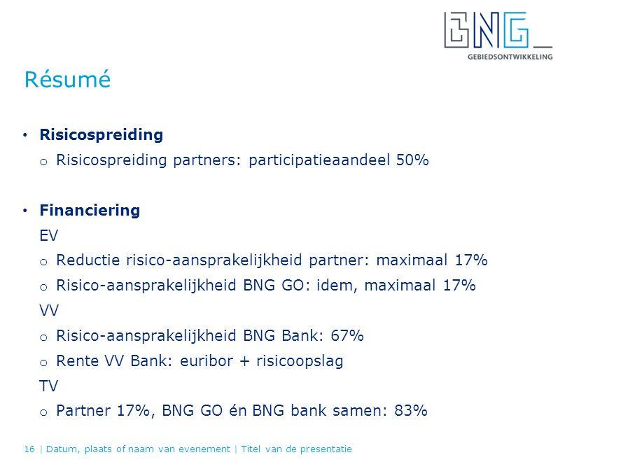 Résumé Risicospreiding o Risicospreiding partners: participatieaandeel 50% Financiering EV o Reductie risico-aansprakelijkheid partner: maximaal 17% o Risico-aansprakelijkheid BNG GO: idem, maximaal 17% VV o Risico-aansprakelijkheid BNG Bank: 67% o Rente VV Bank: euribor + risicoopslag TV o Partner 17%, BNG GO én BNG bank samen: 83% 16   Datum, plaats of naam van evenement   Titel van de presentatie