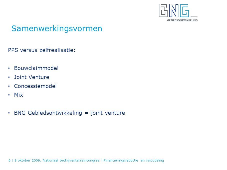 Gebiedsontwikkeling 1 oktober 1997 100 % dochter van NV Bank Nederlandse Gemeenten Doel: Ondersteunen statutaire marktpartijen BNG en maatschappelijke instellingen (MI) bij Gebiedsontwikkeling en realisatie van RO-plannen: Risicodragende participatie in de grondexploitatie Inzet van procesmanagement / expertise t.b.v.