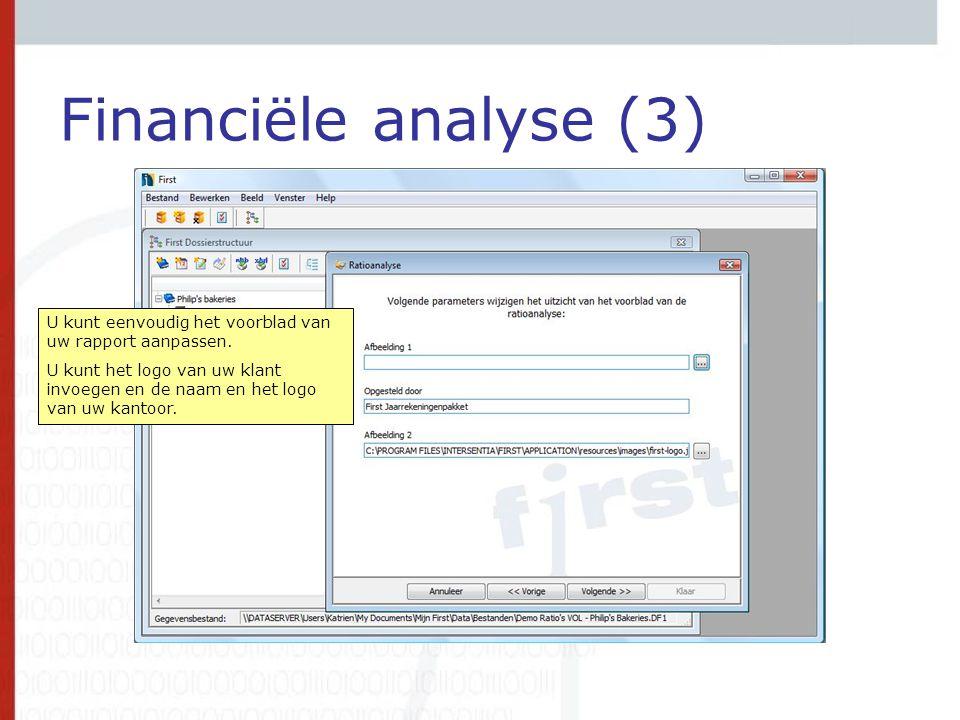 Financiële analyse (3) U kunt eenvoudig het voorblad van uw rapport aanpassen. U kunt het logo van uw klant invoegen en de naam en het logo van uw kan
